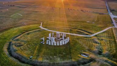 An aerial view of Stonehenge without any cars or people nearby