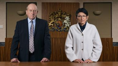 Geoff (Ian Bartholomew) and Yasmeen (Shelley King) in Coronation Street