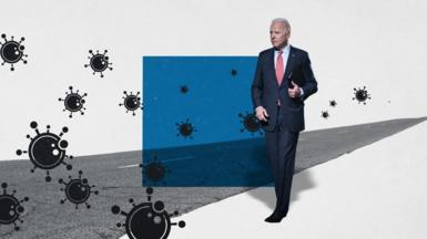 Graphic image of Biden and coroanvirus