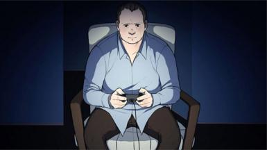 Line drawing of a man playing a video game