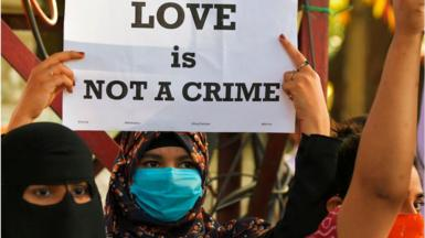 """Protesters against the """"love jihad"""" law"""