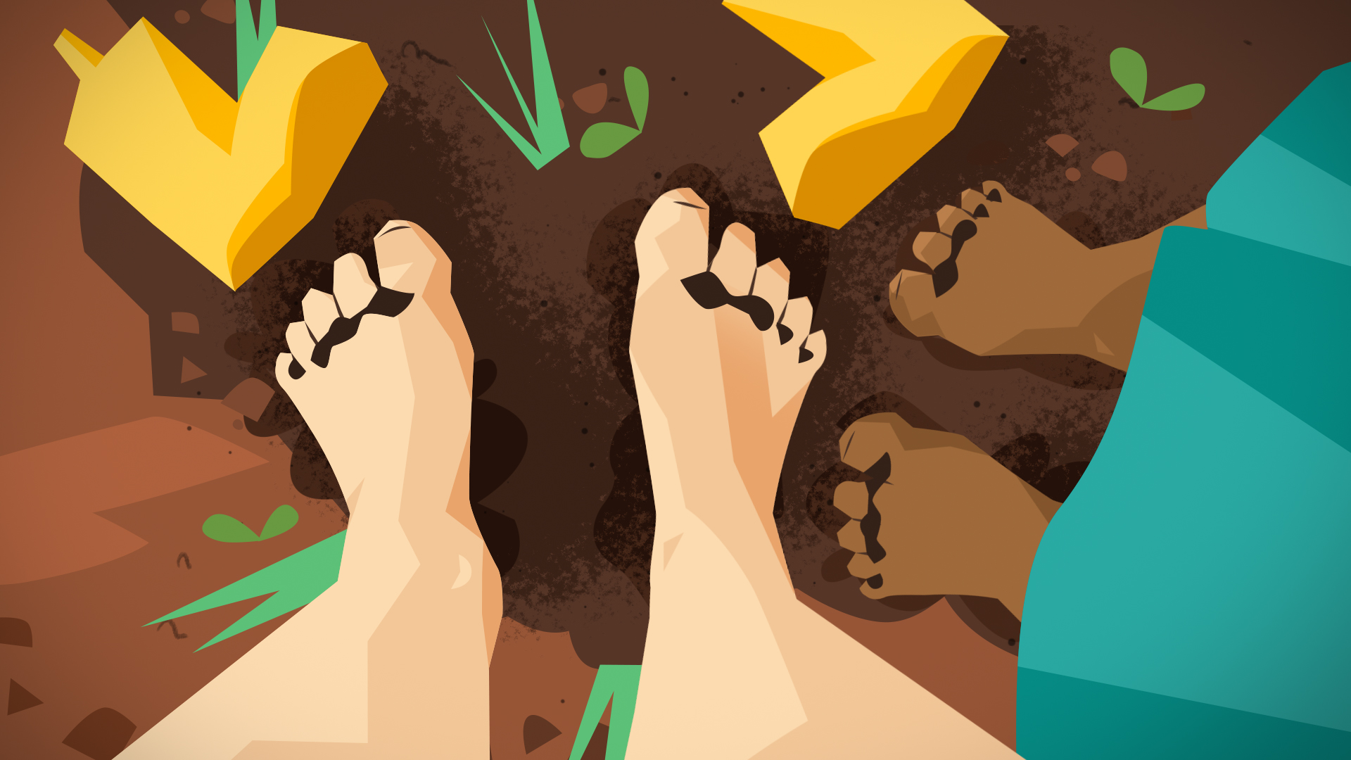 Illustration of two sets of bare feet in the soil