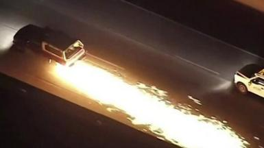 Car with sparks flying