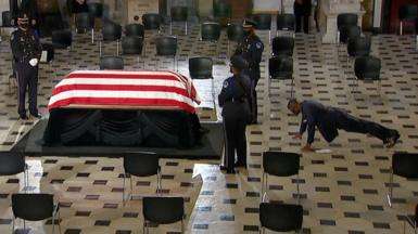 The late Supreme Court justice's personal trainer pays his respects as she lies in state at the US Capitol.