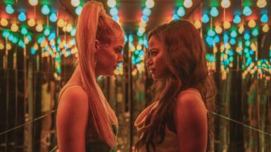 """Riley Keough (left) stars as """"Stefani"""" and Taylour Paige (right) stars as """"Zola"""""""