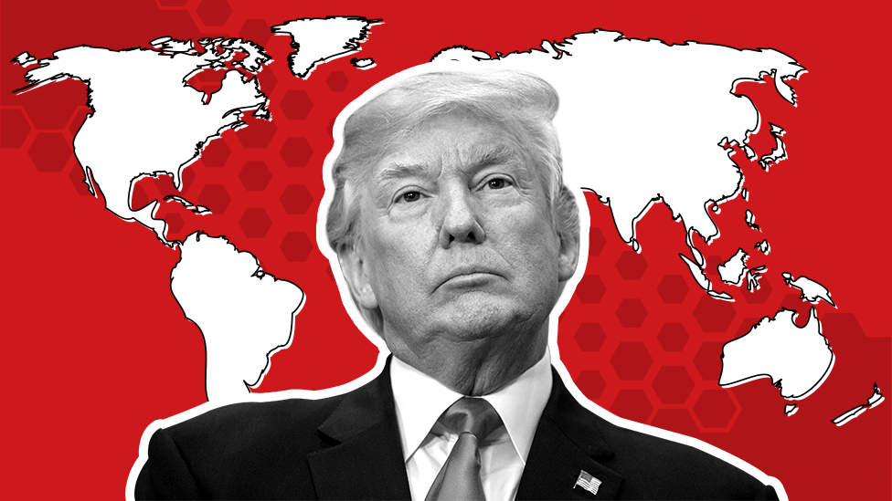 Donald Trump and map of the world
