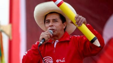 Pedro Castillo speaks during a campaign rally on 22 May