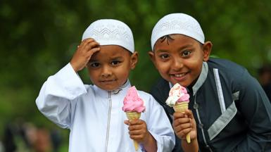 two boys with ice cream at Eid