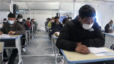 Students take the the annual national college entrance examination, or gaokao, in Maqin County, Guoluo Tibetan Autonomous Prefecture, Qinghai Province of China on 6 June