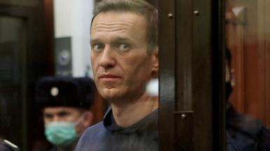 A still image taken from video footage shows Russian opposition leader Alexei Navalny in court, 2 February 2021