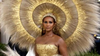 Iman attends The 2021 Met Gala Celebrating In America: A Lexicon Of Fashion at Metropolitan Museum of Art on September 13, 2021 in New York City.
