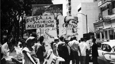 An anti-US demonstration in Caracas in 1960
