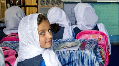 Afghan boys and girls attend mixed classes at the Ariana Kabul Private School in September 2019, in north Kabul, Afghanistan