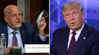 Composite image of CDC director Robert Redfield and US President Trump