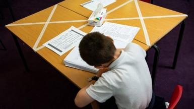 Pupil in classroom in school in Worcester