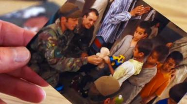 Photo of Ramin with soldier