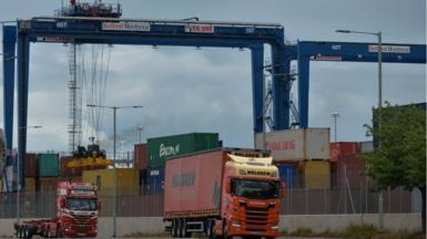 Lorries at Belfast Harbour