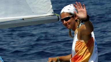 Greek skipper Sofia Bekatorou (r) at the Athens Olympics in August 2004