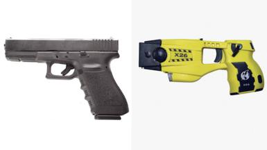 Glock handgun and X26 Taser