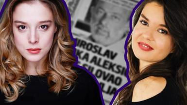 Composite image showing Milena and Danijela against the backdrop of a newspaper