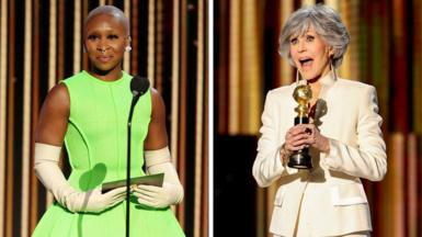 Cynthia Erivo and Jane Fonda at the Golden Globe Awards in Beverly Hills, February 28, 2021