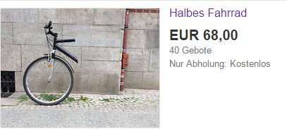 Half of a bicycle on sale on ebay in Germany