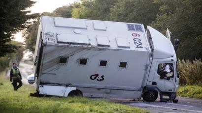 Prisoner Transport Van >> Man Charged After Prisoner Transport Van Overturns On A952