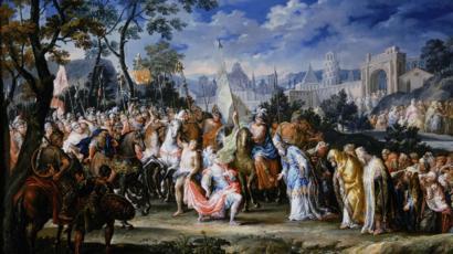 Pintura de Johan Georg Platzer (1704-1761) que muestra la llegada de Alejandro a Babilonia