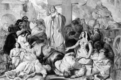Pessoas orando por alívio da peste bubônica, por volta de 1350.