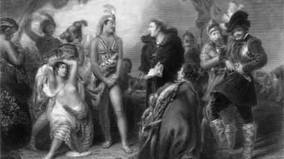 Ilustração de uma reunião entre os conquistadores espanhóis e os nativos do Peru.