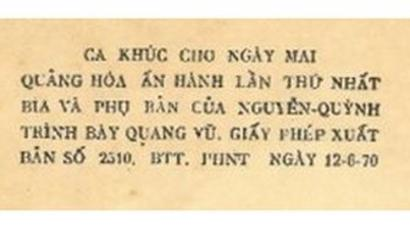 Thông tin in và kiểm duyệt trong tập nhạc Ca Khúc Cho Ngày Mai (Sài Gòn: Quảng Hóa, 1970) của Phạm Duy.