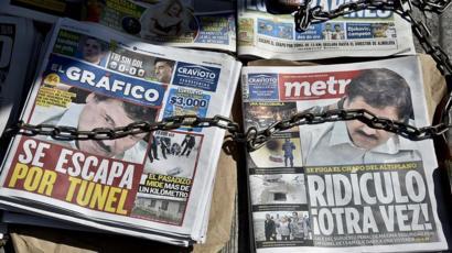 Portadas de prensa con noticia de la segunda huida de El Chapo