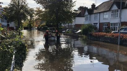 Midlands Flooding People Rescued By Boat In Hereford Bbc News