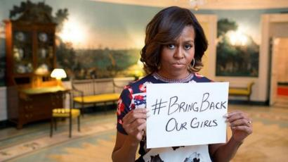 Michelle Obama tweets a picture of herself highlighting the #BringBackOurGirls campaign