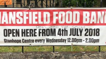Dont Feed Scum Written On Mansfield Food Bank Sign Bbc News