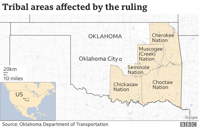Mapa de Oklahoma señalando territorio indígena