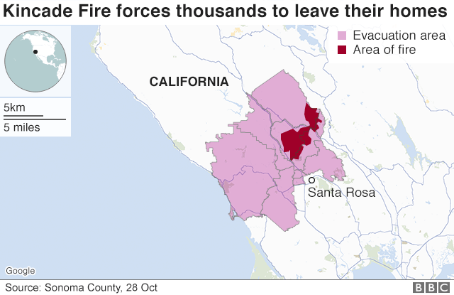 California Faces Huge Power Cuts As Wildfires Rage Bbc News