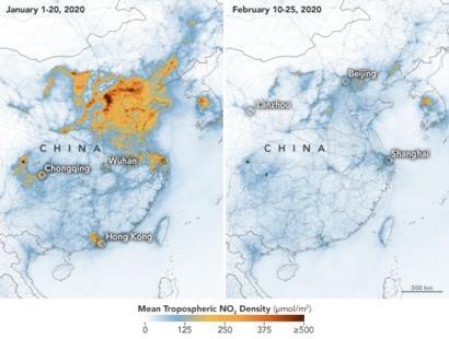 Mapa divulgado pela Nasa mostra como os níveis de poluição do ar reduziram na China este ano