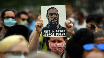 Protesters gather to demonstrate the death of George Floyd
