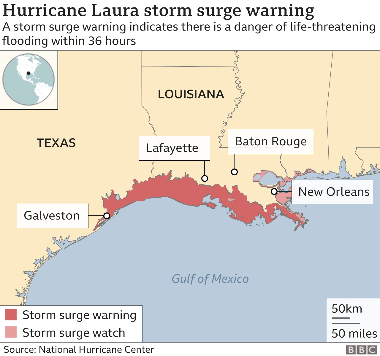 Map Of Louisiana Flooding 2020 Hurricane Laura 'will cause unsurvivable storm surge'   BBC News