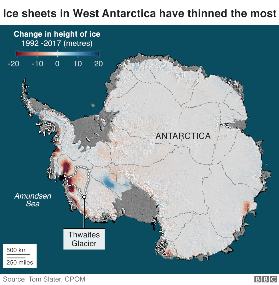 Thwaites: 'Doomsday Glacier' vulnerability seen in new maps - BBC News