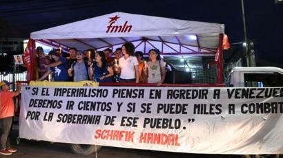 Concentración chavista en El Salvador.