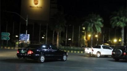A car (L) said to be carrying Ms Yousafzai was photographed at a hotel in Islamabad on Thursday