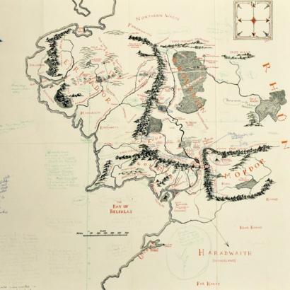 JRR Tolkien\'s annotated Middle-earth map on show at Bodleian ...