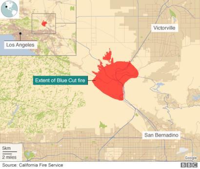 California Wildfires Thousands Flee Blue Cut Blaze Bbc News