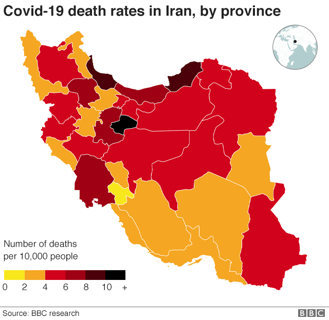 Map showing covid death rates in Iran