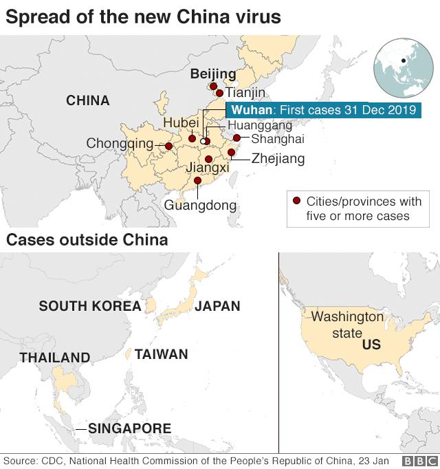 Penyebaran virus corona di China.