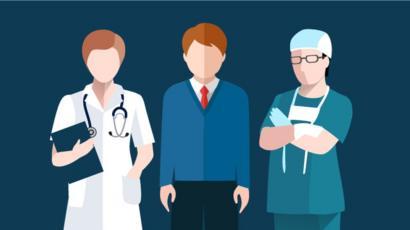 Ilustração de médicos