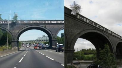 Give peas a chance' M25 bridge graffiti removed - BBC News