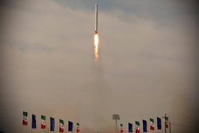 A handout photo showing what Iran's Islamic Revolution Guard Corps (IRGC) says is the launch of a military satellite on 22 April 2020